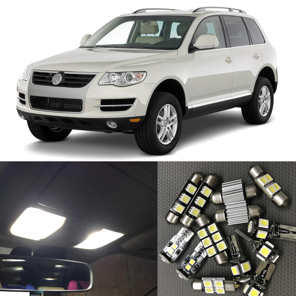 16pcs Auto Car Interior LED Light Bulbs Canbus Kit For 2005-2010 VW Volkswagen Touareg White Map Dome Trunk Step Courtesy Lamp