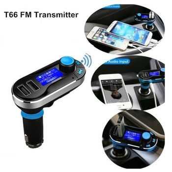 Hot Bluetooth Car Kit MP3 Player FM Transmitter Auto Bluetooth AUX Wireless Car Modulator Radio 2 USB Car Charger Remote Control 4