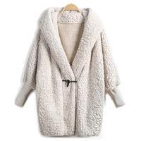 2018 Hot Sale Hooded Outwear Winter Newest Fashion Design Women's Apricot Batwing Long Sleeve Loose Streetwear Hooded Coat 4203
