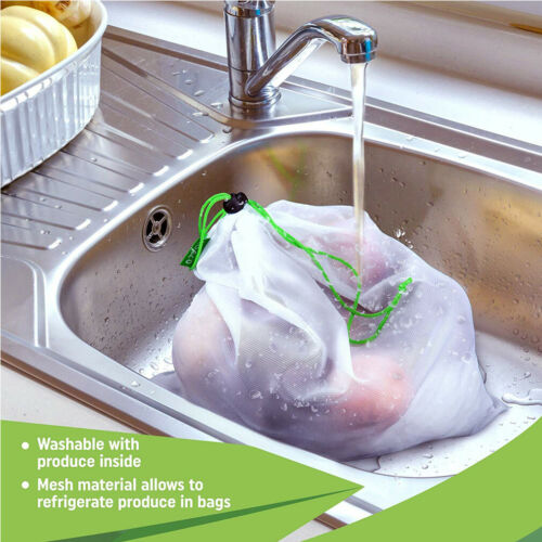 Eco friendly Mesh Produce Bags Grocery Fruit Storage Shopping String Bag Kitchen Storage Bags Organization in Bags Baskets from Home Garden