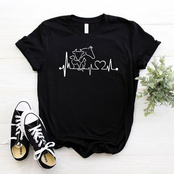 animal heartbeat cow horse Women tshirt Cotton Casual Funny t shirt Gift For Lady Yong Girl Top Tee 6 Color Drop Ship S-781