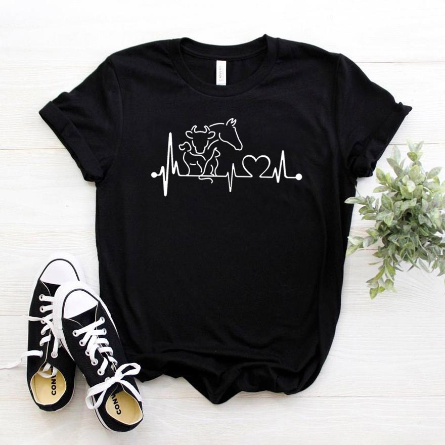 animal heartbeat <font><b>cow</b></font> horse Women tshirt Cotton Casual Funny <font><b>t</b></font> <font><b>shirt</b></font> Gift For Lady Yong Girl Top Tee 6 Color Drop Ship S-781 image