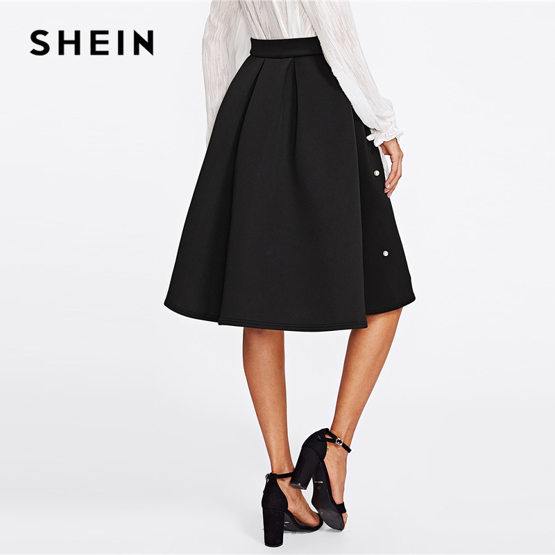 SHEIN Black Vintage Pearl Embellished Boxed Pleated Circle Knee Length Mid Waist Skirt Women Autumn Elegant Workwear Skirt 2