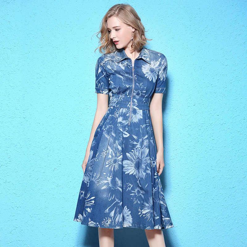 Nordic Winds 2017 Jeans Dress Women Sunflowers Print Fashion A-line  vestidos Summer Turn- d73ec498fa79