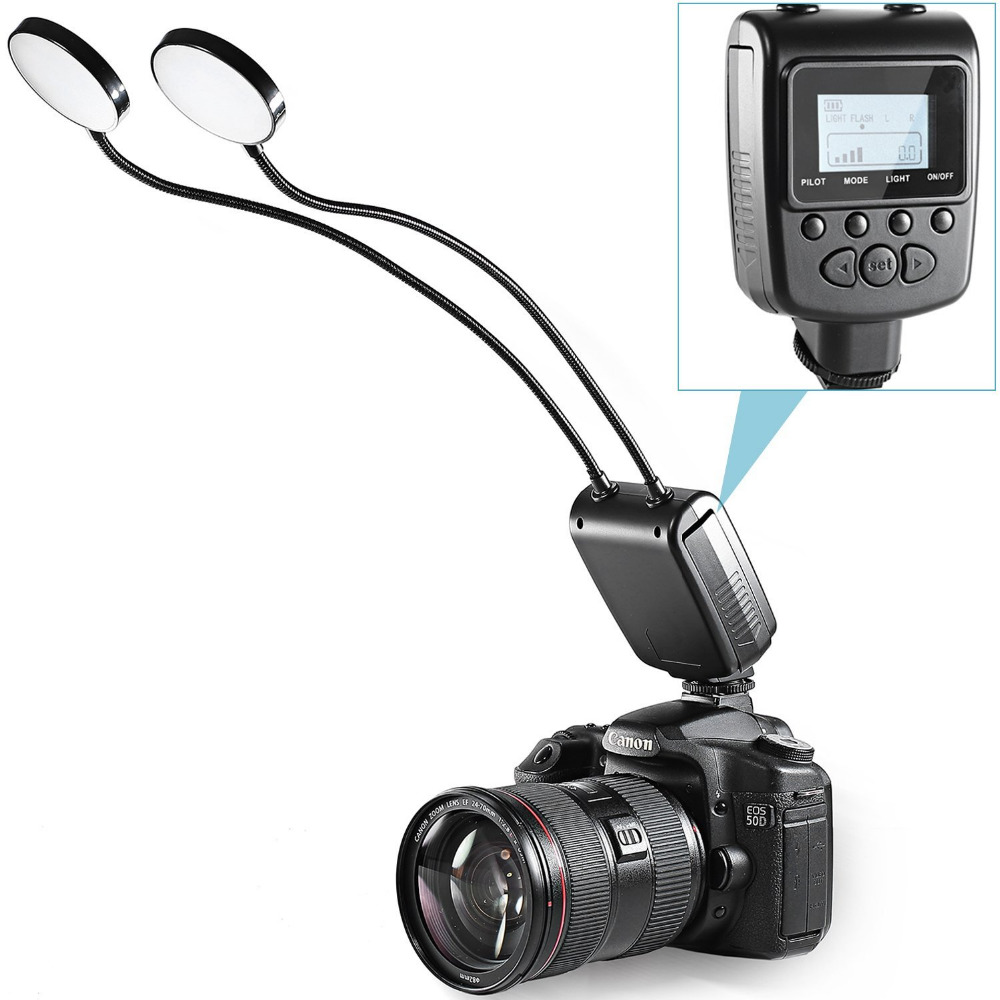Prix pour Neewer Polyvalent Flexible Deux Métal Tube LED Anneau Rond Lumière Flash avec Écran lcd pour Canon Macro Close-up photographie