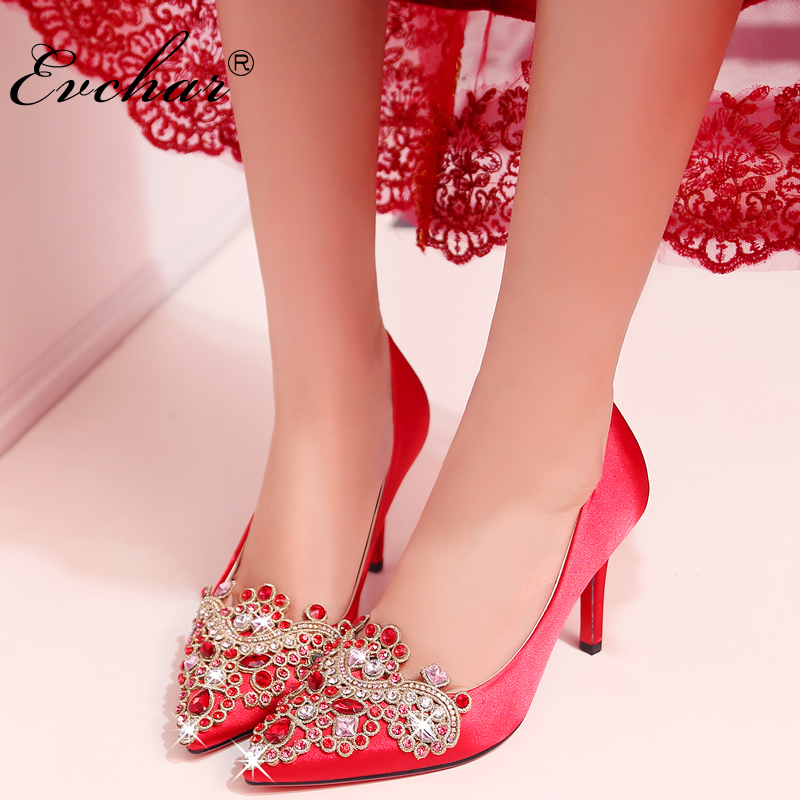 Spring Autumn Chinese style red women wedding shoes sexy Pointed Toe embroidery Slip-On Shallow high heels pumps size 33-40 womens shoes high heel woman pumps spring autumn basic silk slip on pointed toe thin heels sexy wedding shoes ljx04 q