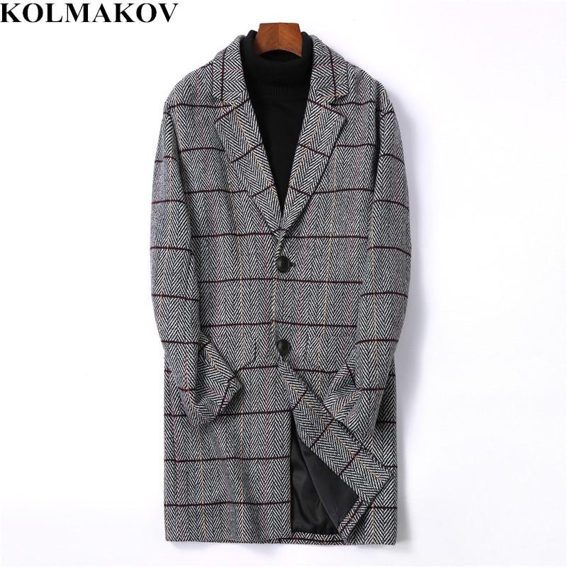 KOLMAKOV мужская одежда 2018 Новое поступление мужские шерстяные облегающие пальто длинные клетчатые тренчи мужские M 4XL осенние шерстяные куртки для мужчин