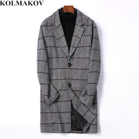 KOLMAKOV Men's Clothes 2018 New Arrive Mens Woolen Coats Slim Fit Long Plaid Trench Coat Male M 4XL Autumn Wool Jackets for Men