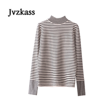 Jvzkass 2018 new spring hit classic black and white striped primer women long sleeves half-length collar T-shirt Z128