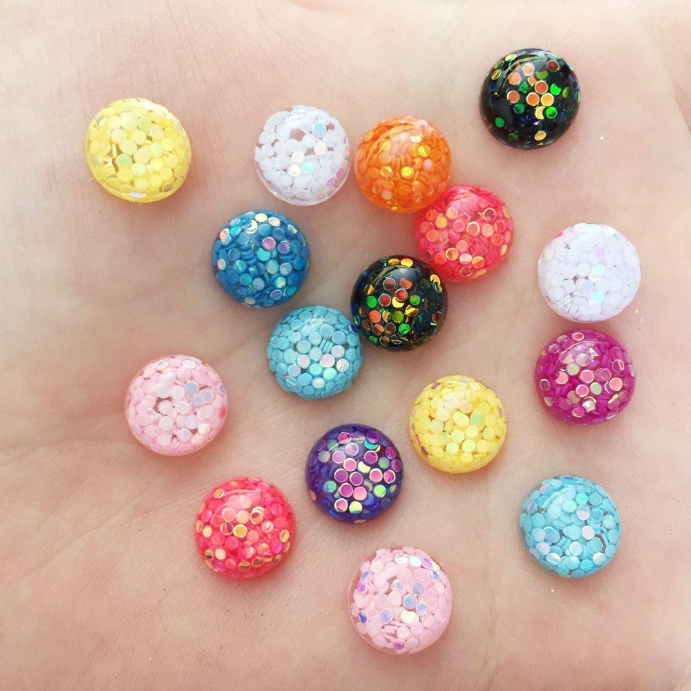 50 Pcs Resin Cabochon Drill 12mm Star Glitter Buttons DIY Scrapbooking Craft