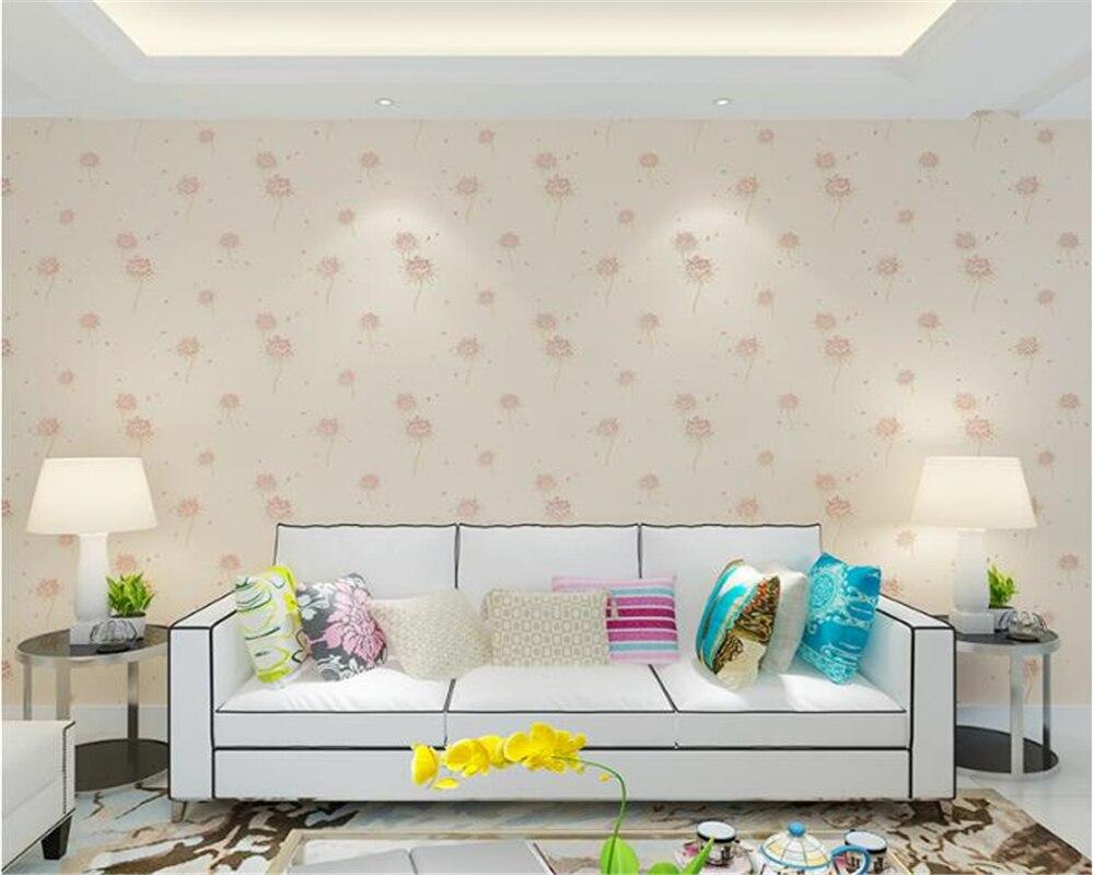 beibehang 4D pressure pastoral non-woven wall paper Korean warm bedroom bedroom dandelion papel de parede 3d wallpaper tapety