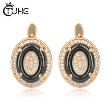 Classic Women Stud Earrings Rose Gold Color With Bling Rhinestone Black White Russian Button Beautiful