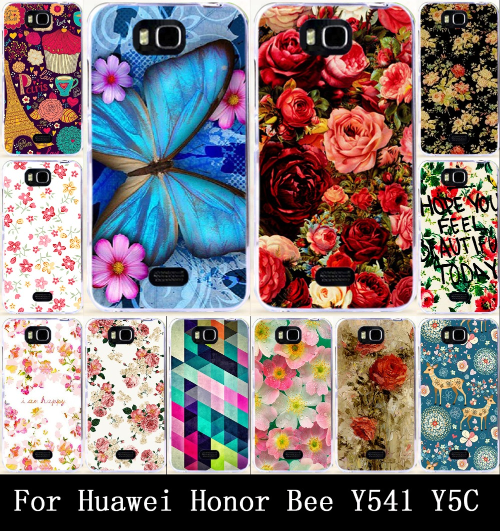 Beautiful Rose Peony Flower Painted Hard PC & Soft TPU Cases For Huawei Honor Bee/for Huawei Y5C Y541 Case Cover Back Skin Cases
