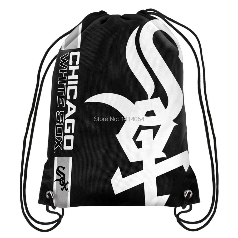 Chicago White Sox Drawstring Backpack 35x45CM MLB Digital Printing Polyester Custom Sports Backpack, free shipping