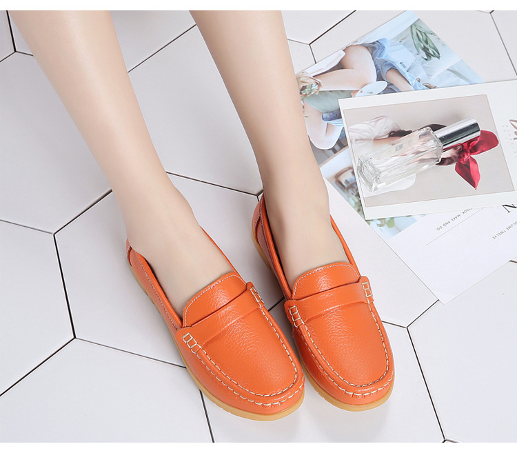 AH 2020-2019 Spring Autumn Women Loafers Genuine Leather Woman's Flats-11