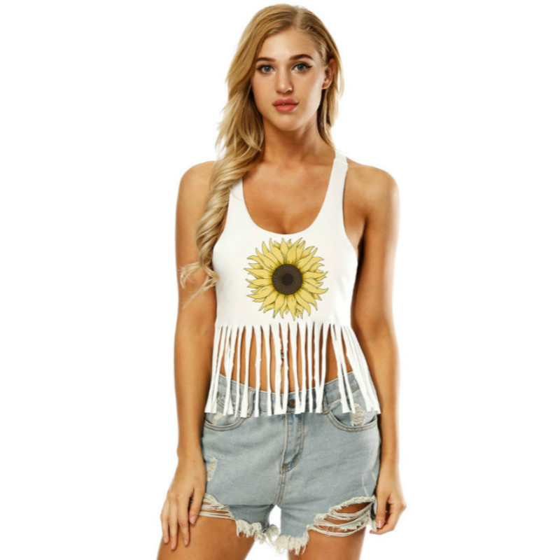 Casual tassel white crop top women flower printing tops sexy short fitness clothing women tank top 2018 summer elasticity clothe