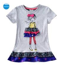 JUXINSU Kids Toddler Cotton Summer Girls Short Sleeve Dresses Cartoon Wavelet point for Baby Girl Clothes 1-6 Years