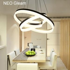 Image 5 - Lusso Moderno lampadario LED cerchio anello di luce lampadario per soggiorno Acrilico Lustre Lampadario di Illuminazione del nastro bianco di 85 265