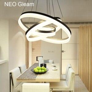 Image 5 - Luxus Moderne kronleuchter LED kreis ring kronleuchter licht für wohnzimmer Acryl Lustre Kronleuchter Beleuchtung weiß splitter 85 265
