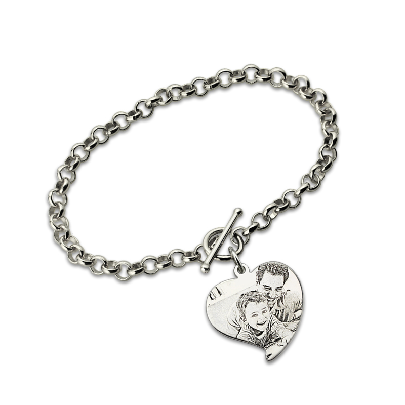 Personalized Photo Engraved Bracelet Heart Charm Pendant Bracelet Sterling Silver Jewelry Gift for Lovers
