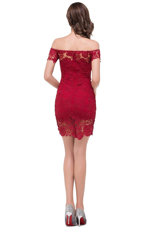Burgundy Lace Cocktail Dress
