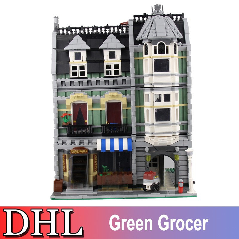 2018 New 2462Pcs City Street Figures Green Grocer Model Building Kits Blocks Bricks Toys For Children Gift Compatible With 10185 lepin 15008 2462pcs genuine new city street green grocer model building kit blocks bricks toy gift compatitive funny for 10185