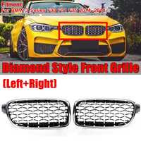 Diamond Grill Mesh Car Front Bumper Kidney Grill Grille For BMW 3 Series F30 F31 F35 2014 2015 2016 2017 2018 Auto Racing Grills