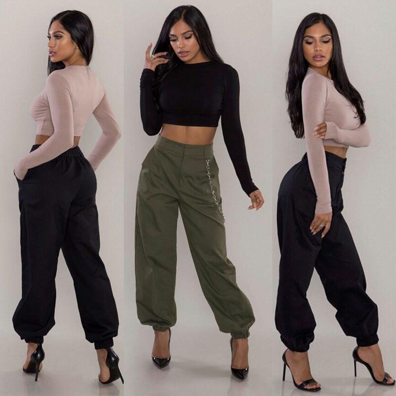 2019 Nuovo Stile Di Modo Caldo Delle Donne Solido Sciolto Pantaloni Casual Hip Hop Pantaloni Esercito Militare Da Combattimento Della Signora Con Tasca Delizioso Nel Gusto