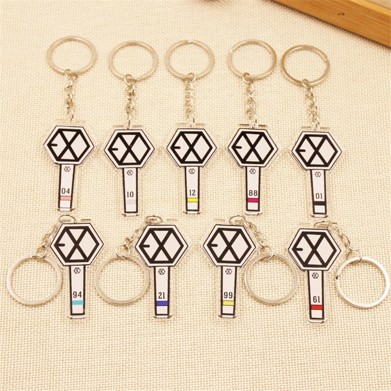 Youpop KPOP EXO New Album EXODUS Key Chain Acrylic Cartoon Keychain K-POP EXO Concert Li ...