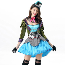 Halloween Ladies Fairy Tale Mad Hatter Cosplay Outfit Alice in Wonderland Through The Looking Glass Costume