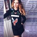 2017 otoño y el invierno de la moda de las mujeres nuevos de manga larga paquete hip autocultivo impresión dress