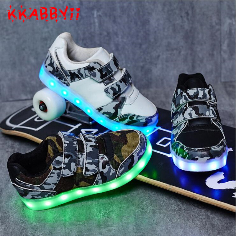 все цены на Led Glowing Luminous Sneakers USB Charging Kids Light Up Led Children Shoes With Kids Casual Boys&Girls Shoe enfant EU 25-36 онлайн