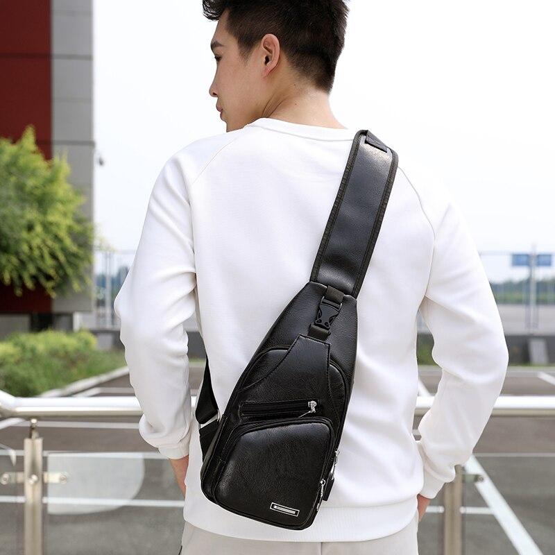 BALEINI 2018 Fashion Messenger New Shoulder Bag Men's Charging Bag Men's USB Breast Bag High quality leather 5