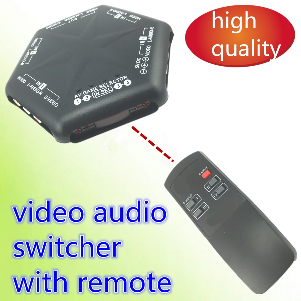 1pcs AV SWITCHER AV switch 4 way good quality Converter video audio selector for TV AV666 with remote control s video ...