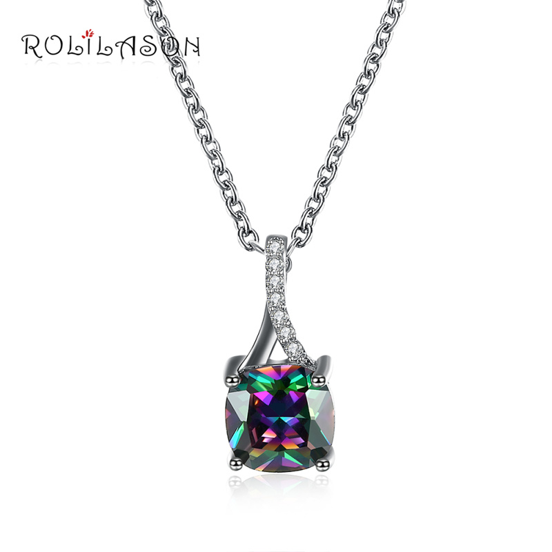 ROLILASON Party Rainbow Cubic Zirconia Crystal Plant Crystal Necklace Fashion Jewelry Silver Necklaces Pendants LN649
