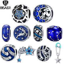 BISAER 925 Sterling Silver Blue STARS Moon Snowflake Perles Star Beads Charms Fit Women Charm Bracelets Silver 925 Jewelry(China)