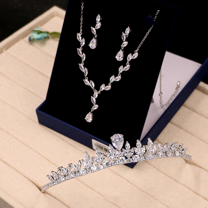 Crown-Accessories Wedding-Ornament Earrings Zircon Bridal-Necklace Crystal Bridesmaid