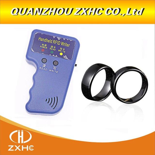 Handheld 125 KHz EM4100 RFID Copier Writer Duplicator Programmatore Reader + ID125Khz RFID Nero Ceramica Smart Anello di Barretta di Usura