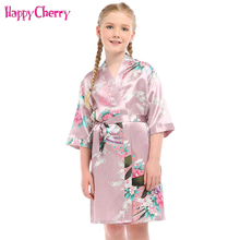 2018 Baby Girls Satin Peacock Printing Robe Summer Pajamas for 3-14Yrs Kids Bridesmaid Flower Girl Slumber Party Kimono Bathrobe