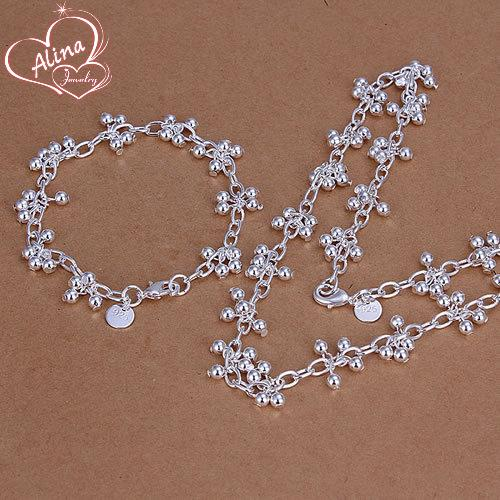 Free Shipping Wholesale silver plated jewelry set, fashion jewlery set Smooth Grape Ball Bracelet Necklace Jewelry Set S212
