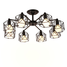 Vintage Chandeliers Multiple Rod Wrought Iron Ceiling Lamp E27 Bulb Living Room Lamparas for Home Lighting Fixtures