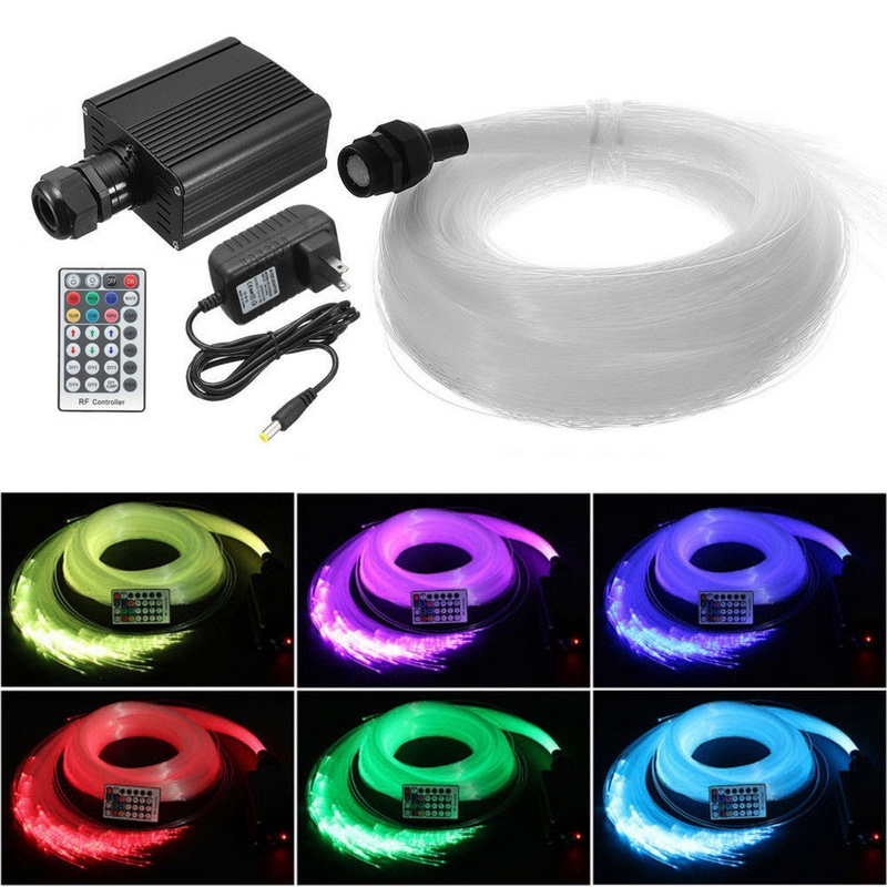 DIY 16W RGBW LED Fiber Light Optic Star Ceiling Kit Light 300pcs 2M 0.75mm Crystal Fiber Glow Cable with 28Key Remote diy lights 16w rgbw 28key rf remote led fiber optic star ceiling light kit 2m 300pcs 0 75mm fiber optic lighting