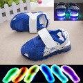 2016 moda de nova marca LED iluminado crianças sapatos venda quente sapatos de bebê bonito casual cool crianças sandálias meninas sapatos meninos