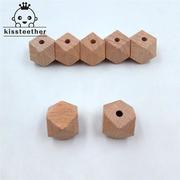 40pcs Beech Wood Bead Unfinished Natural 16mm Geometric hexagonal Wooden Beads For DIY Baby Teether Nacklace chenkai 100pcs 20mm wooden unfinished beads geometric hexagon beads natural beads for diy baby teether nacklace accessories