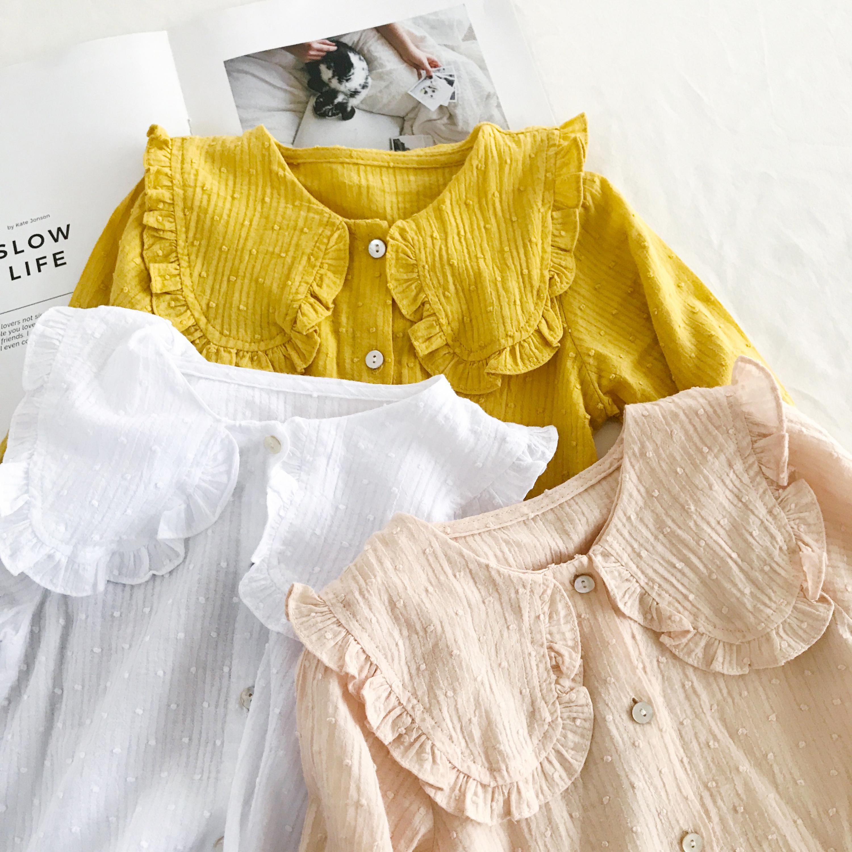 2018 Spring Summer New Long Sleeved Shirt Girls White Pink Blouse Girls Tops Tshirt Kids T-shirts T-shirt Toddler Girl Tops