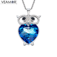 Veamor Owl Love Necklace For Women Real 925 Sterling Silver Blue Crystals From Swarovski Fashion Jewelry