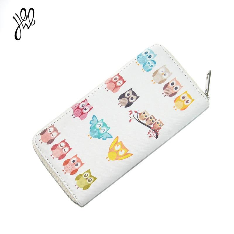 Yehwang2017 Women Wallet Long PU Leather Purses Cartoon Owl Pattern Cute Feminina Wallet For Credit Card Coin Purses500791500797