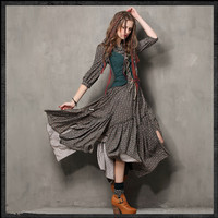 Ücretsiz Shiping 2017 Bağbozumu Çiçek Baskı Kadın Sahte Twinset Tasarım Uzun Maxi 3/4 Kollu Sonbahar Muhteşem Şövalye Düzensiz Elbiseler
