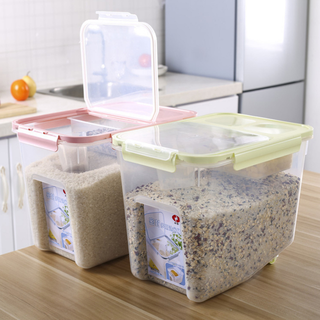 Hips 10kg Plastic Grain Rice Sealed Box Cereals Beans Storage Container With Measuring Cup Kitchen