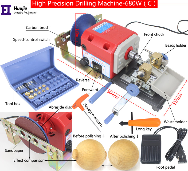 NEW! RED Stone Pearl Drilling Machine Jewelry Making equipments beading polishing tools 680W powerful Amber Holing Machine-in Jewelry Tools & Equipments from Jewelry & Accessories    3